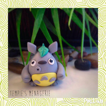 """Handmade Polymer Clay Totoro figurine 2"""" by Tempie's Menagerie"""