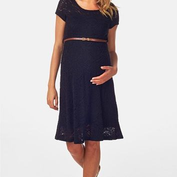 Women's PinkBlush Belted Lace Maternity Dress