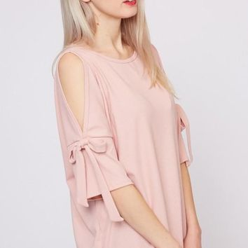 Cold Shoulder with Tied Sleeve