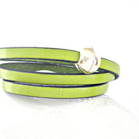 Bright chartreuse green triple wrapped leather bracelet with sphere magnetic clasp