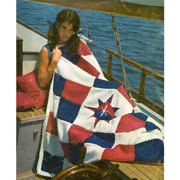 Knit Nautical Star Block Afghan PDF Pattern
