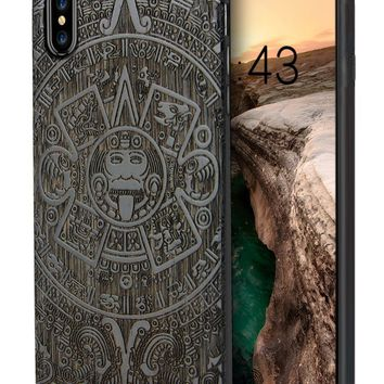 iPhone X Case for Men, Unique Handmade Real Wood Engraving Totem Protective Bumper for Apple iPhone X