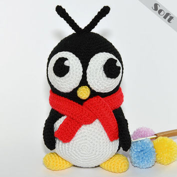 Penny The Shy Penguin With Her Red Scarf. Crochet, Amigurumi