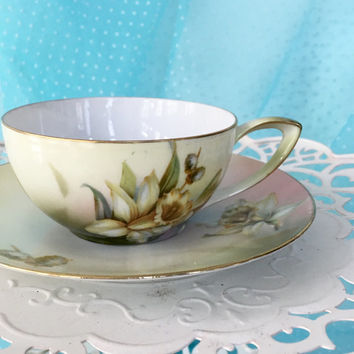 Antique Teacup, Vintage Tea Cup, Germany, Hand Painted Porcelain