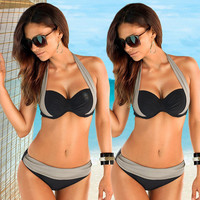 2017 New Sexy Bikinis Women Swimsuit High Waisted Bathing Suits Swim Halter Top Push Up Bikini Set Beach Plus Size Swimwear XXXL