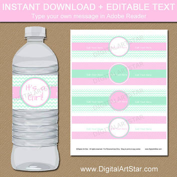 Pink and Mint Baby Shower Water Bottle Label Instant Download Printable Girl Baby Shower Decorations Girl Birthday Decorations Editable PDF