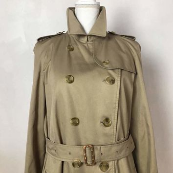 Burberry Women's Size M Classic Full length Trench coat Tan