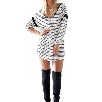 Stripe Long-Sleeve Shirt Dress