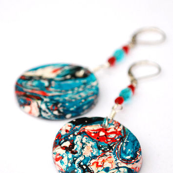 Long red and turquoise earrings. Boho style jewelry.