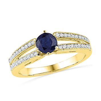 10kt Yellow Gold Womens Round Lab-Created Blue Sapphire Solitaire Split-shank Ring 1/5 Cttw