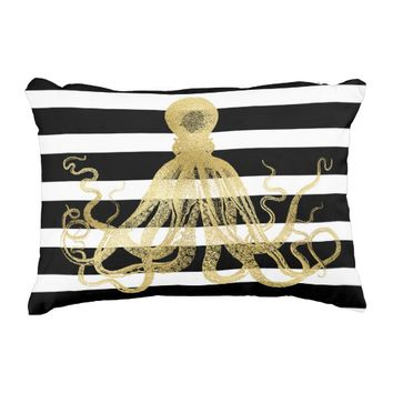 Gold Octopus/Black Stripes Accent Pillow