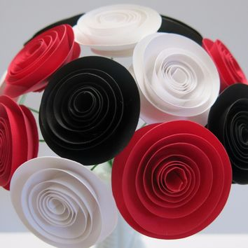 "Black, Red and White Paper Flower bouquet 1.5"" rose blooms arrangement 50th Birthday retirement decoration BEST SELLING most popular"