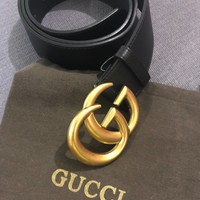 GUCCI Double G Belt Size 90 cm Black