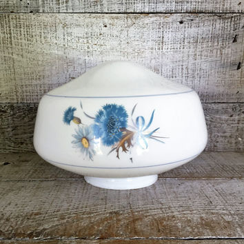 Milk Glass Lampshade with Blue Floral Design Glass Lampshade Farmhouse Chic Glass Shade Glass Light Globe Antique Light Fixture Shade