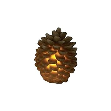 """3.75"""" Brown Battery Operated Flameless LED Lighted Flickering Pine Cone Christmas Candle"""