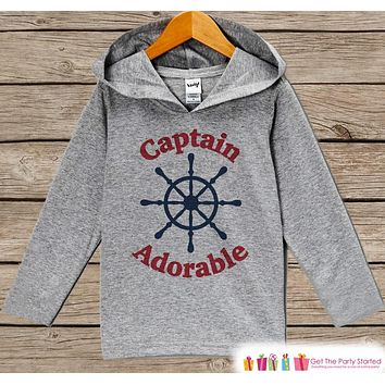 Kids Hoodie - Boys Nautical Pullover Captain Adorable Outfit - Grey Toddler Hoodie - Kids Hoodie - Nautical Shirt - Hoodie Pullover Top