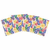 """Amy Reber """"Pretty Bouquet"""" Yellow Floral Indoor/Outdoor Place Mat (Set of 4)"""