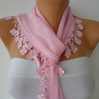 Baby Pink Scarf  - Cotton  Scarf -  Cowl with Lace Edge   -
