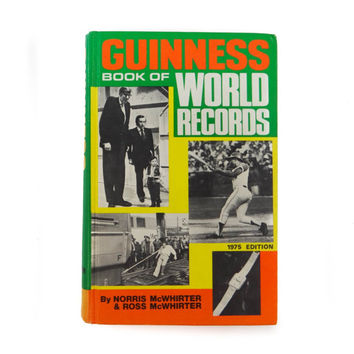 Vintage Guinness World Book of Records Hardcover Book from 1975