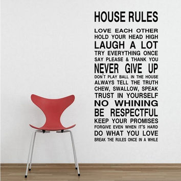 House Rules Wall Decal Sticker