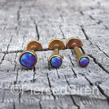 Purple opal tragus piercing barbell 16g forward helix body jewelry set titanium labrets rose gold set of 3