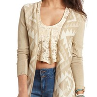 OPEN FRONT AZTEC CARDIGAN SWEATER