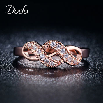 Beautiful Rose Gold Plated Romantic Infinity Ring for women Wedding engagement Geometric Rings CZ diamond jewelry alliance DR004