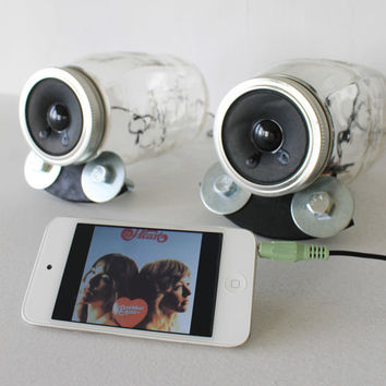 Mason Jar Speakers - Unique UpCycled BootsNGus Computer - Game Consoles - iPhone - IPOD - MP3 - Amplified Speaker Set - Handmade Bases