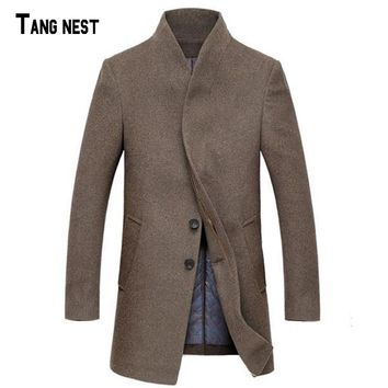TANGNEST Men Wool Trench 2018 New Arrival Men Solid Thick Winter Long Trench Men Long Warm Wool Coat Masculina Casaco MWN167
