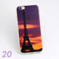 Beautiful Eiffel Tower Scenery Print Soft TPU Transparent Phone Back Case Cover Shell For iPhone 5 5S 6 6s 6 Plus 6s Plus 7