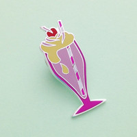Strawberry Milkshake Enamel Pin Badge, Lapel Pin, Tie Pin