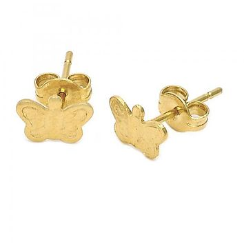 Gold Layered 5.126.065 Stud Earring, Butterfly Design, Diamond Cutting Finish, Gold Tone