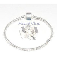 European Charm Silver Plate Bracelet  Magnetic Clasp 22 Cm Extra Large