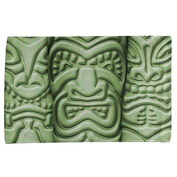 Tiki God Green Face Luau All Over Bar Hand Towel