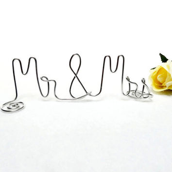Wedding Cake Topper- Mr & Mrs- Silver or Brown