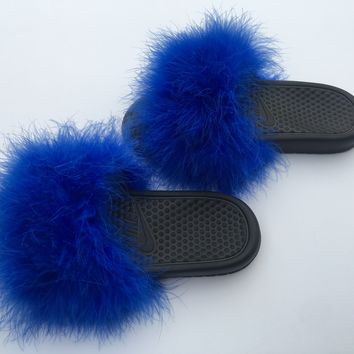 Just do it Nike Blue faux fur slides