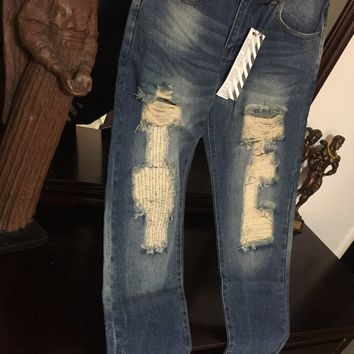 Off-White Jeans 'Size 36' (custom distressed design)