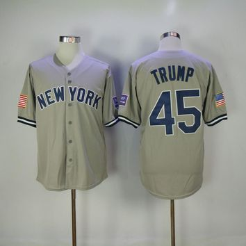 Men's New York Donald Trump Jersey Embroidery Gray White Pinstripe Baseball Jersey
