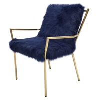 Duffy Faux Fur Chair Gold Frame, Navy Blue