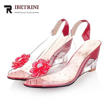 DoraTasia 2016 New Arrival Bohemia Flower Summer Peep Toe Jelly Shoes Crystal Wedges High Heel Women Sandals / Big Size 34-43