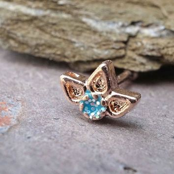 Lotus Flower Nose Bone Nose Stud Rose Gold