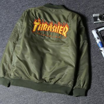 THRASHER Fashion Flight suit men and women quilted couples coat