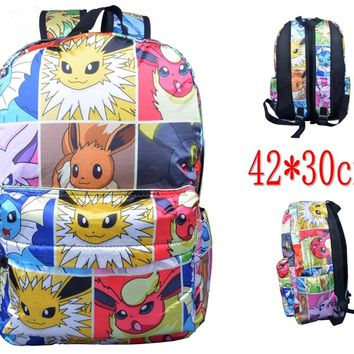 Pokemon Go Jolteon eevee Espeon Glacia satin Splicing pattern backpack shoulder schoolbag traveling knapsack Boy Girls packsack