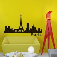 Vinyl Wall Decals Paris Skyline City Silhouette Sticker Home Decor Art Mural Z594