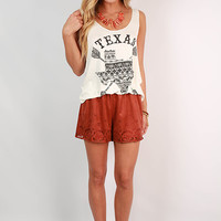 Rustic Glam Faux Suede Shorts in Burnt Orange