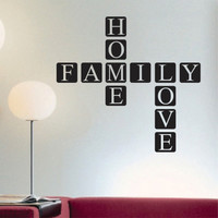 Family Home Love Quote | Scrabble Tile Decal | Vinyl Wall Lettering