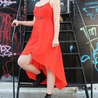 Orange Chiffon Studded Zip-Front High-Low Racerback Dress (Small) - Free Shipping