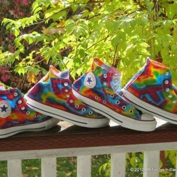 DCCK1IN made to order tie dye converse shoes hi top