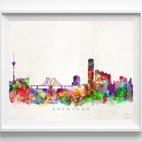 Shenyang Skyline Print, China Print, Shenyang Poster, China Cityscape, Watercolor Painting, Wall Art, Decor, Christmas Gift