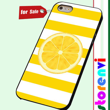 Yellow & White Stripes with a LEMON custom case for smartphone case